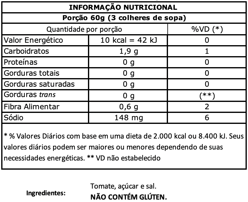 nutritional value Extratomato 140g