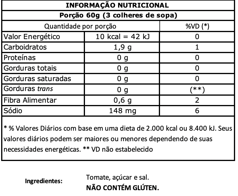 nutritional value Extratomato 370g